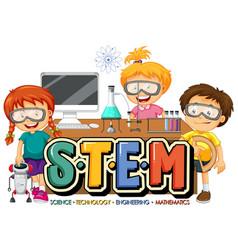Stem education logo with many kids cartoon vector