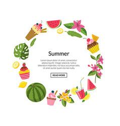 summer color cocktails flamingo palm vector image