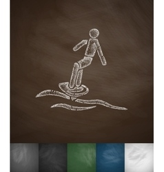 surfer on waves icon Hand drawn vector image