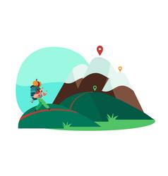 tourist cartoon character hiking mountains vector image