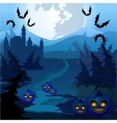 Trail through spooky forest with pumpkins vector image vector image
