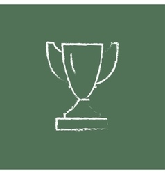 Trophy icon drawn in chalk vector