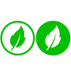 Two green leaf icons vector