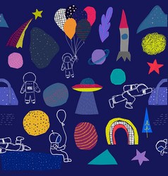 Universe rainbow astronaut planet star pattern vector