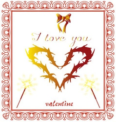 Valentine heart yellow I love you red vector