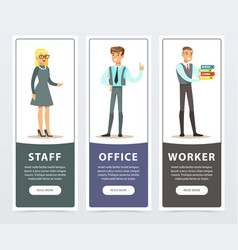 Vertical banners set with people characters in vector