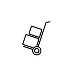 web line icon trolley black on white background vector image