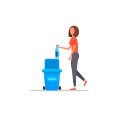 woman hand throws garbage into a plastic bottle vector image