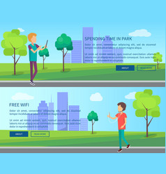 Work on fresh air in urban park web banners set vector