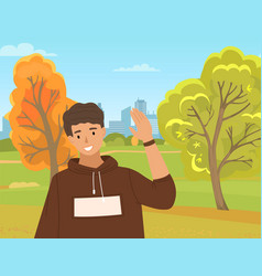 young boy is waving hand male character shows vector image
