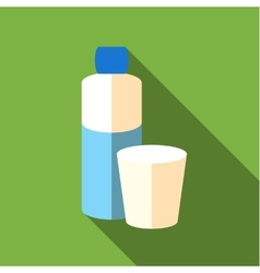 Bottle and glass of water icon flat style vector image vector image