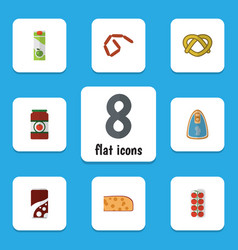 Flat icon meal set of bratwurst packet beverage vector
