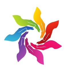 Hands voluntary logo vector image vector image