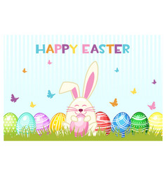 happy easter day eggs and rabbit on the vector image vector image