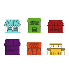street shop icon set color outline style vector image