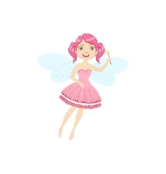 Cute Fairy With Magic Wand Girly Cartoon Character vector image vector image