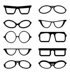 Glasses and Sunglasses silhouettes vector image vector image
