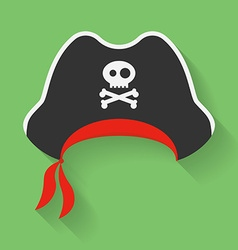 Icon of Pirate Hat with a Jolly Roger symbol vector image vector image