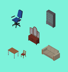 Isometric design set of office couch drawer and vector