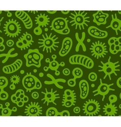 Microbes Virus and Bacteria Green Seamless vector image