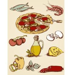 pizza sketch set vector image vector image
