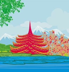 Beautiful landscape in Japan vector image