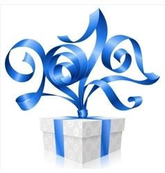 blue ribbon and gift box Symbol of New Year 2017 vector image