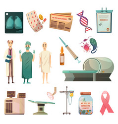 defeat cancer orthogonal icons set vector image