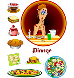 Evening meal vector