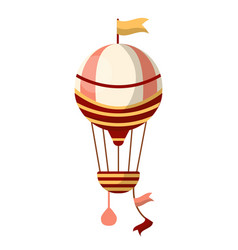 fancy air balloon with flag on top and striped vector image vector image