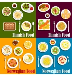 Finnish and norwegian seafood dishes icon vector image