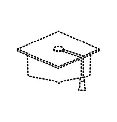 graduation cap sticker vector image