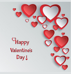 valentines day background with 3d paper hearts vector image vector image