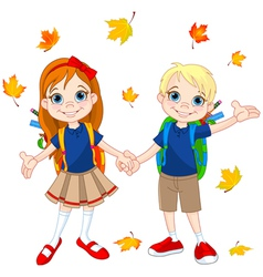 Boy and girl ready to school vector image