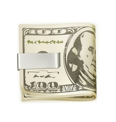 Cash folded in a money clip vector image