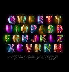 Funny Colorful Alphabet for party flyers vector image vector image