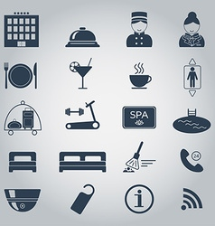 Hotel services icons Silhouette Isolated vector image