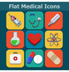 Medical flat color icons set vector image