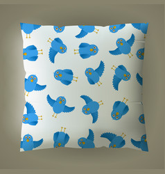 Pillow with blue bird pattern vector