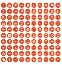 100 luggage icons hexagon orange vector