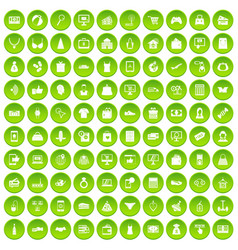 100 online shopping icons set green circle vector