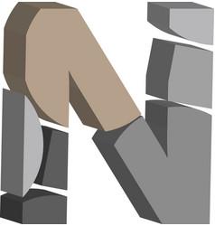 3d font letter n vector image