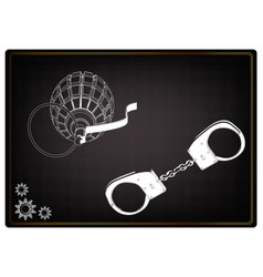 3d model of grenades and handcuffs on a black vector image