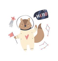 A funny fox astronaut vector