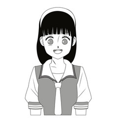Anime girl young beautiful monochrome vector