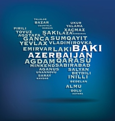 Azerbaijan map made with name of cities vector image