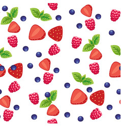 Background with various berries and fruits vector