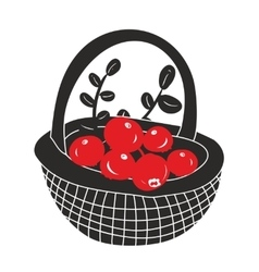 Basket with red berries from the northern forest vector