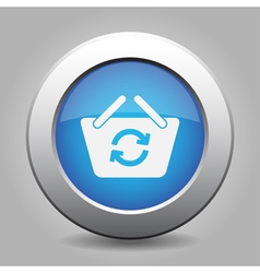 Blue button shopping basket refresh vector