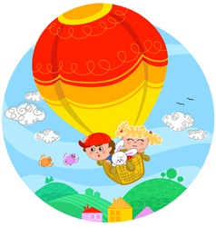 Boy and girl in hot air balloon vector image